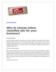 Why to choose online classified ads for your business.doc